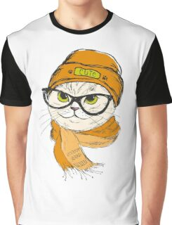 portrait of cat hipster  Graphic T-Shirt