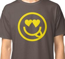 The Internet Generation Collection - In Love Emoji Sticking Tongue Out - Yellow and White Pattern Classic T-Shirt