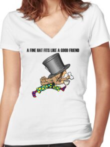 Mad Hatter Women's Fitted V-Neck T-Shirt