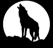 Howling wolf and moon silhouette by MercedesP