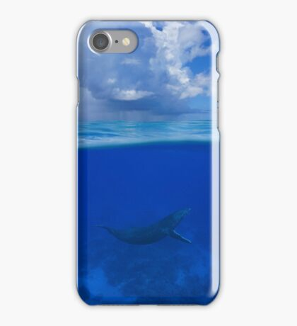 Whale underwater sea split with cloudy blue sky iPhone Case/Skin