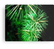Bright green fireworks Metal Print