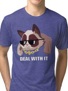 Deal with it Grumpy cat Tri-blend T-Shirt