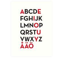 Swedish alphabet Art Print