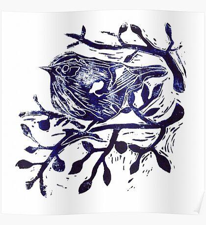 Lino cut  - Cute Bird in Tree Poster