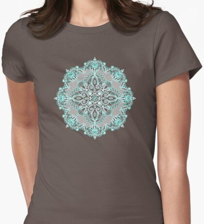 Teal and Aqua Lace Mandala on Grey Womens Fitted T-Shirt
