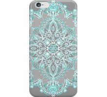 Teal and Aqua Lace Mandala on Grey iPhone Case/Skin