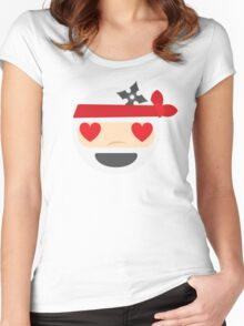 Ninja Emoji Heart and Love Eyes Women's Fitted Scoop T-Shirt