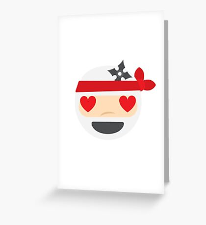 Ninja Emoji Heart and Love Eyes Greeting Card