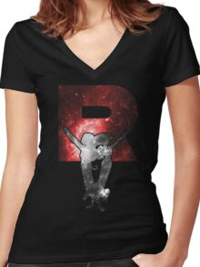 Team Rocket Minimalist Nebula Design Women's Fitted V-Neck T-Shirt