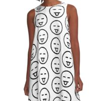 The Internet Generation Collection - Tongue Out, Closed Eyes Emoji - Black and White Pattern A-Line Dress