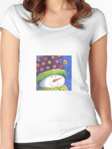 Cute Christmas snowman  Women's Fitted Scoop T-Shirt