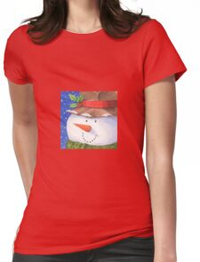 Cute country snowman Womens Fitted T-Shirt