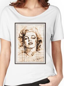 old book drawing marilyn monroe Women's Relaxed Fit T-Shirt