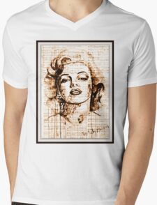 old book drawing marilyn monroe Mens V-Neck T-Shirt