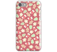 Christmas Cookies Pattern Design (Red) iPhone Case/Skin