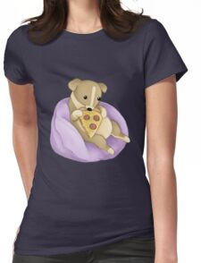 Pizza Puppy Womens Fitted T-Shirt
