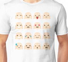 Buddha Emoji 16 Different Facial Expressions Unisex T-Shirt