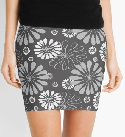 Floral Pattern - Charcoal Gray and White Mini Skirt