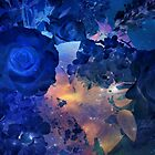 Blue Roses with Galactic Sparkle by Jane Neill-Hancock