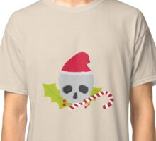 Chirstmas Skull with candy cane Classic T-Shirt