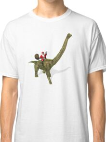 Santa Claus Riding On Brachiosaurus Classic T-Shirt