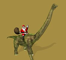 Santa Claus Riding On Brachiosaurus by Mythos57