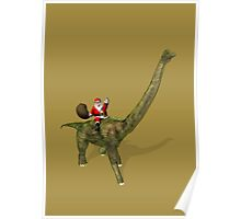 Santa Claus Riding On Brachiosaurus Poster