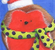 Cute fat Christmas robin by lizblackdowding