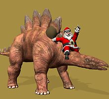 Santa Claus Riding On Stegosaurus by Mythos57