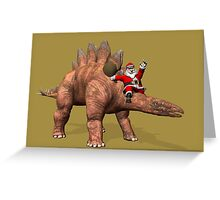 Santa Claus Riding On Stegosaurus Greeting Card