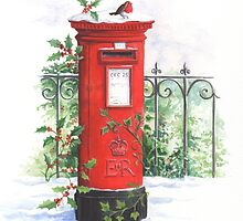 Red Post box in the snow by lizblackdowding