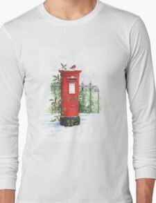 Red Post box in the snow Long Sleeve T-Shirt