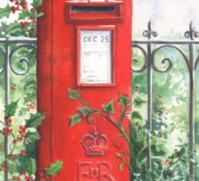 Red Post box in the snow Sticker