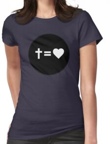 Cross Equals Heart Womens Fitted T-Shirt