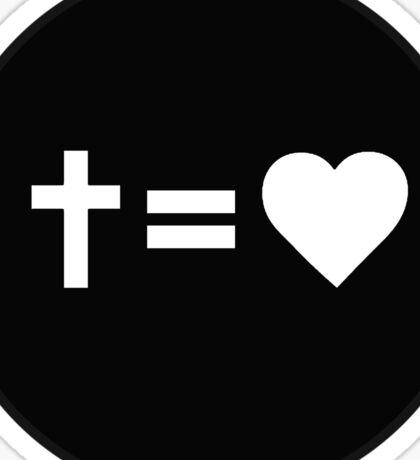 Cross Equals Heart Sticker