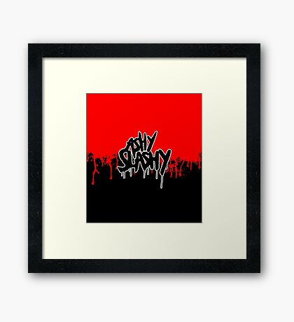 Ash vs The Evil Dead - ASHY SLASHY (BLOOD ON BLACK) Framed Print