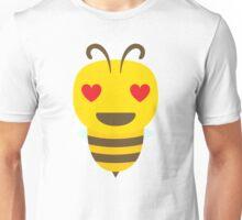 Yellow Bee Emoji Heart and Love Eyes Unisex T-Shirt