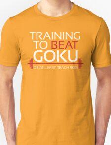 Training to beat Goku - 9001 - White Letters T-Shirt