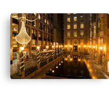 Christmas in Bright Gold - Festive Lights and Decorations Reflected in Black Marble Fountain Canvas Print