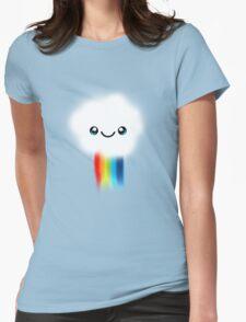 Happy Kawaii Rainbow Cloud Womens Fitted T-Shirt