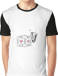 Claptrap and Companion Cube (Black with pink hearts) Graphic T-Shirt