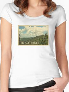 Catskills Vintage Travel T-shirt Women's Fitted Scoop T-Shirt