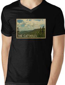 Catskills Vintage Travel T-shirt Mens V-Neck T-Shirt
