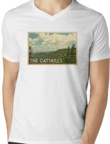 Catskills Vintage Travel T-shirt Mens V-Neck T-Shirt