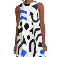 Blue right direction pattern A-Line Dress