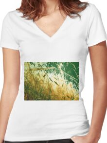gold Women's Fitted V-Neck T-Shirt
