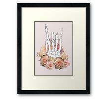 Skeleton hand and Roses Framed Print