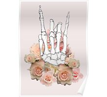 Skeleton hand and Roses Poster