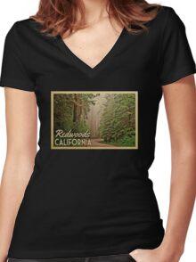 Redwoods Vintage Travel T-shirt California Women's Fitted V-Neck T-Shirt